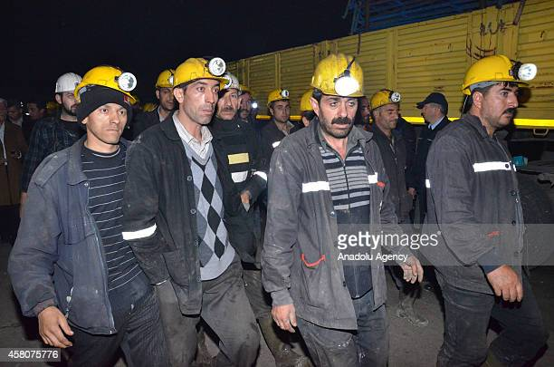 Search and rescue teams work to rescue miners from a coal mine collapsed due to the flooding, in Ermenek district of Karaman, around 400 kilometers...