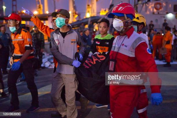 Search and rescue workers move the remains of a victim of the Lion Air flight JT 610 into a waiting ambulance at the Tanjung Priok port on October 29...