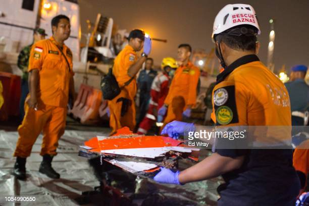 Search and rescue workers s sift through the remains of the Lion Air flight JT 610 into a waiting ambulance at the Tanjung Priok port on October 29...