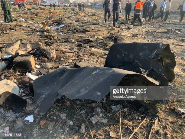 Search and rescue works are conducted at site after a Boeing 737 plane belonging to a Ukrainian airline crashed near Imam Khomeini Airport in Iran...