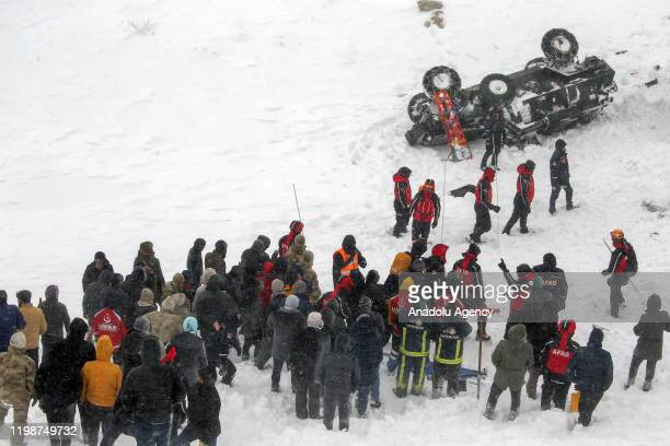 Search and rescue works continue at site after a second avalanche buries search team during search and rescue efforts in Bahcesaray district of...