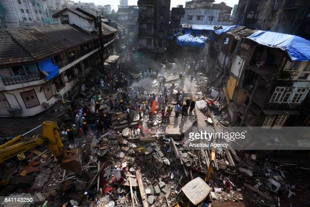 Search and rescue works in progress after a five storey building collapsed in Mumbai India on August 31 2017 A fivestory building collapsed Thursday...