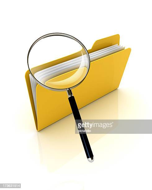 search folder - magnifying glass icon stock photos and pictures