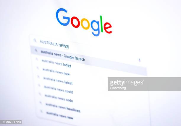 Search for 'Australia News' on the Google homepage, arranged on a desktop computer in Sydney, Australia, on Friday, Jan. 22, 2021. Google threatened...