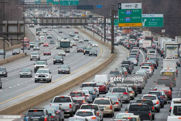 A search for bank robbery suspects shut down all lanes of Interstate 270 in Montgomery County Shortly after 11am traffic is pictured near Montrose Rd...
