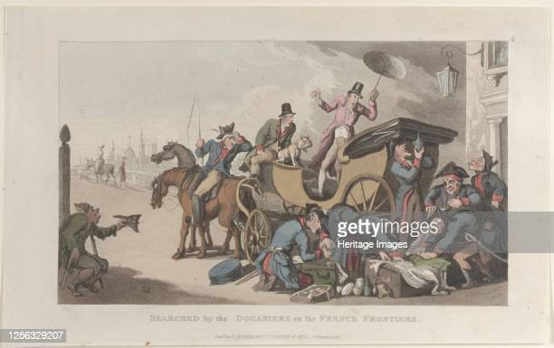 Searched by the Douaniers on the French Frontiers from Journal of Sentimental Travels in the Southern Provinces of France Shortly Before the...