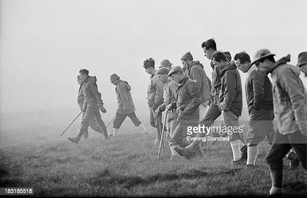 Searchers combing Saddleworth Moor in the South Pennines for evidence in the Moors murders case 1965 The bodies of two victims Lesley Ann Downey and...