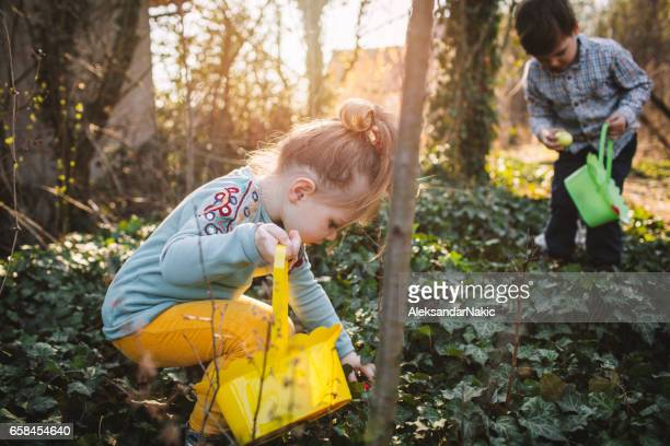 searching for easter eggs - easter egg hunt stock photos and pictures