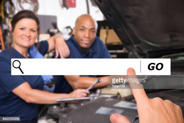 Searching internet websites for trustworthy auto mechanics.