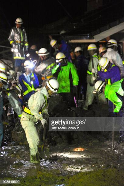 Searching operation for missing 3yearold girl continues after a landslide hit her house on July 7 2018 in Fukuyama Hiroshima Japan 51 people were...