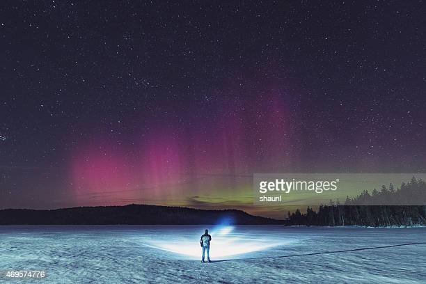 searching the north - aurora borealis stock pictures, royalty-free photos & images