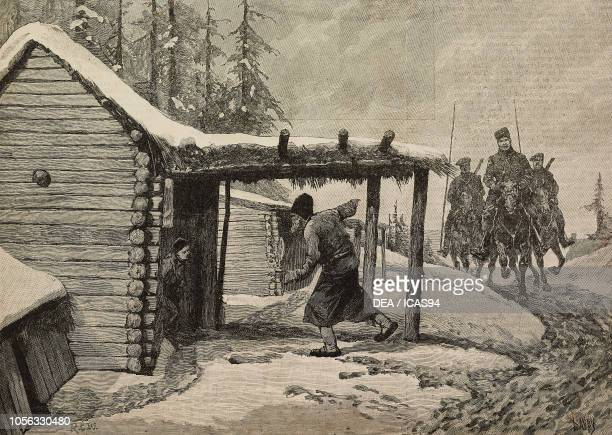 Searching villages for hidden stores and stolen grain famine in Russia engraving from The Illustrated London News No 2750 January 2 1892