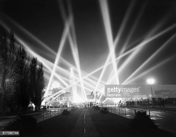 Searchlights light up the sky over Hollywood at the 1940 film premiere of Charles Chaplin's The Great Dictator.