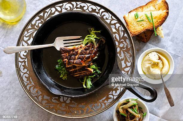 seared foie gras - foie gras stock photos and pictures