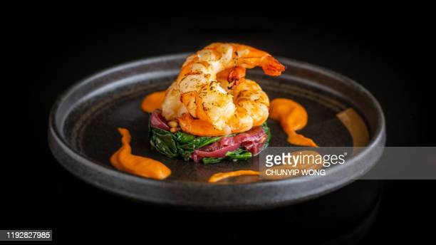 seared king prawn - gourmet stock pictures, royalty-free photos & images