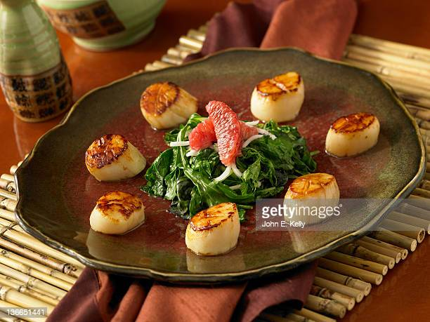 seared scallops - seared stock photos and pictures