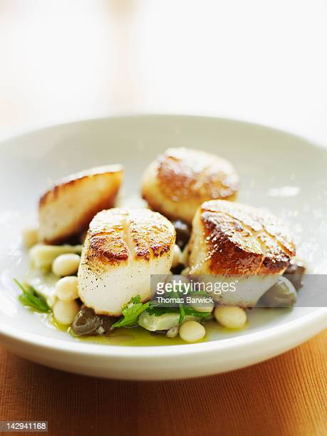 seared sea scallops - seared stock photos and pictures