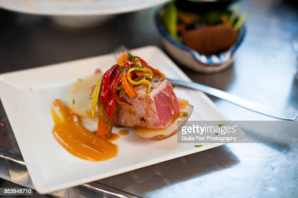 Seared tuna and piperade