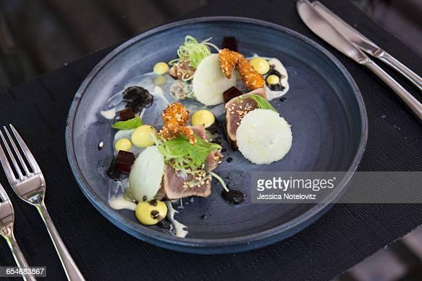 Seared tuna dish at Camphors Restaurant, Franschhoek
