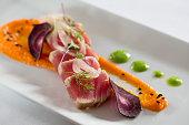 appetizer at restaurant seared tuna