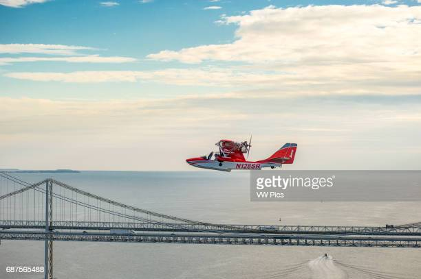 Searey a small seaplane flying near Chesapeake Bay Bridge Maryland USA