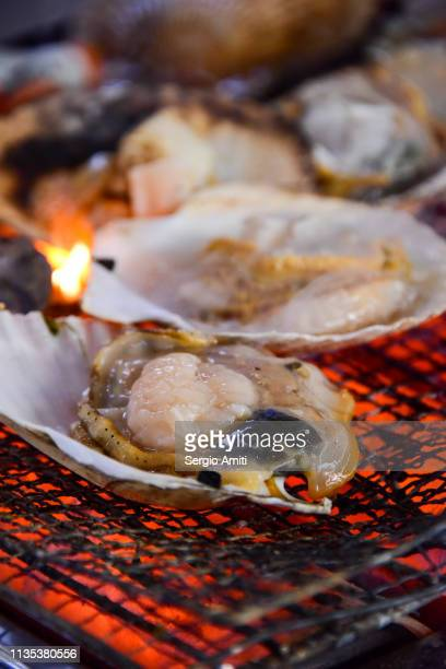 searing a hokkaido scallop - sapporo stock pictures, royalty-free photos & images
