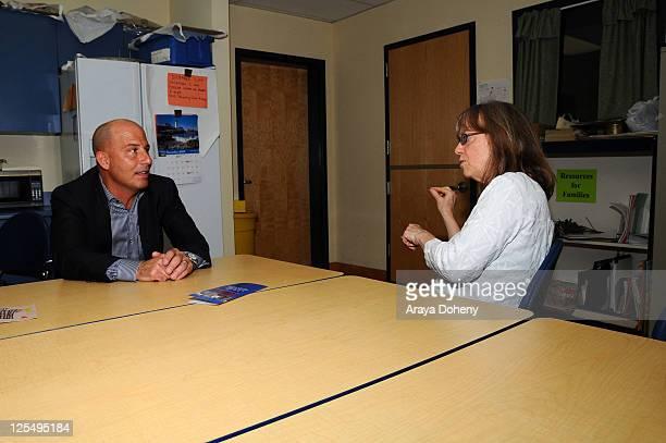 Sears Executive Vice President John Goodman and Midge Wilson of the Bay Area Women's Center tour the Tenderloin School on November 22 2010 in San...