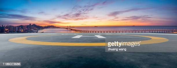 seascape and city under helicopter platform - high dynamic range imaging stock pictures, royalty-free photos & images