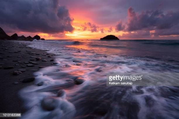 Seascape at Motukiekie beach, Greymouth, New Zealand.