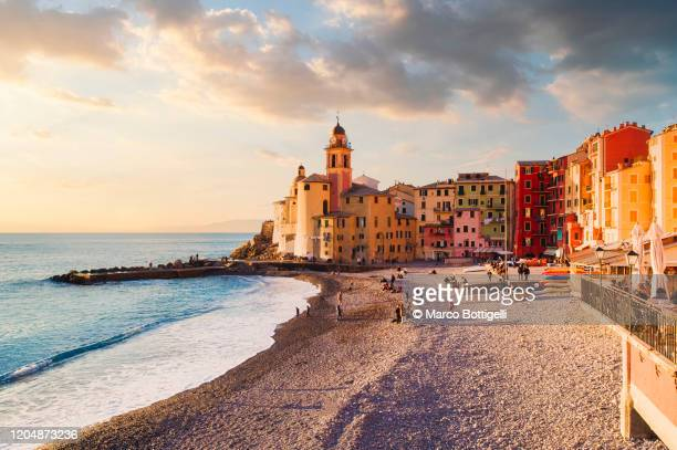 seascape at sunset, camogli, liguria coast, italy - italy stock pictures, royalty-free photos & images