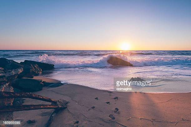 seascape at sunset, tide - sardinia stock pictures, royalty-free photos & images
