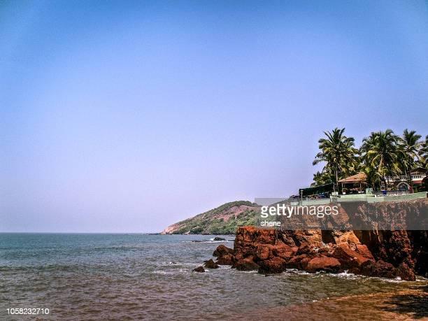 seascape at vagator beach, goa india - goa stock photos and pictures