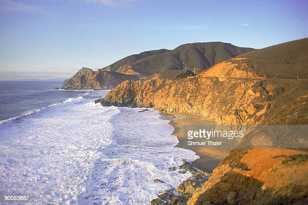 seascape cliffs, san mateo county, california. - san mateo county stock pictures, royalty-free photos & images