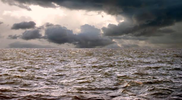 Seascape image of spooky tropical storm