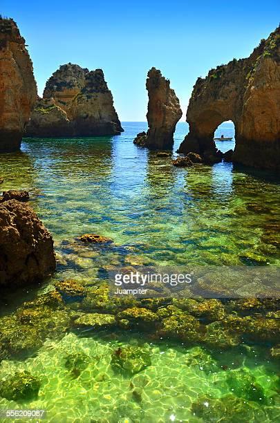 seascape in ponta da piedade, lagos. - grotto stock pictures, royalty-free photos & images