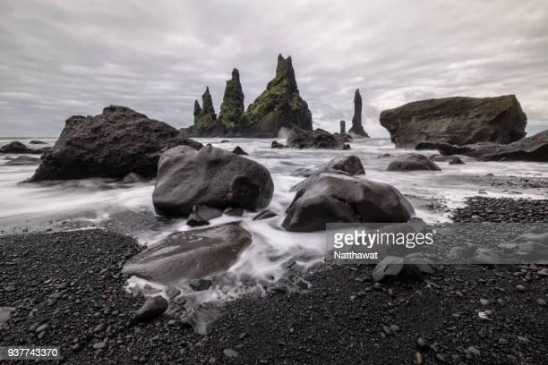 Seascape of Reynisdrangar sea stacks, Vik Iceland.