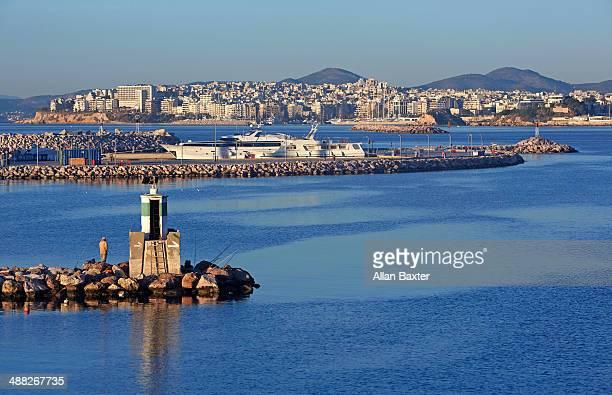 seascape on coastal region of pireaus - piraeus stock pictures, royalty-free photos & images