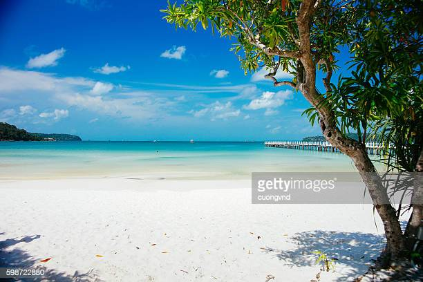 seascape on tropical island koh rong in cambodia - cambodia stock pictures, royalty-free photos & images