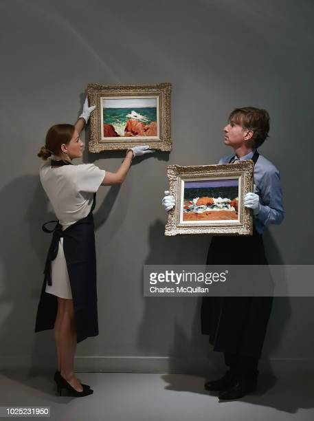 Seascape PontAven and Seascape Orange and Red Rocks by Roderic O'Conor go on view as part of Sotheby's exhibition of Irish art at the Royal Hibernian...