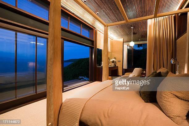 Seascape seen from bedroom of luxury seaside cottage