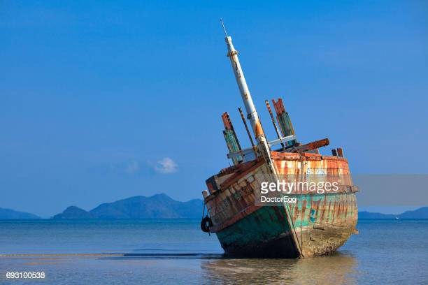 Seascape Ship Wreckage on the Beach at Koh Mak Island, Trat Province, Thailand
