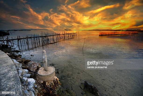 seascape sunset at beach, thailand. - caning stock pictures, royalty-free photos & images