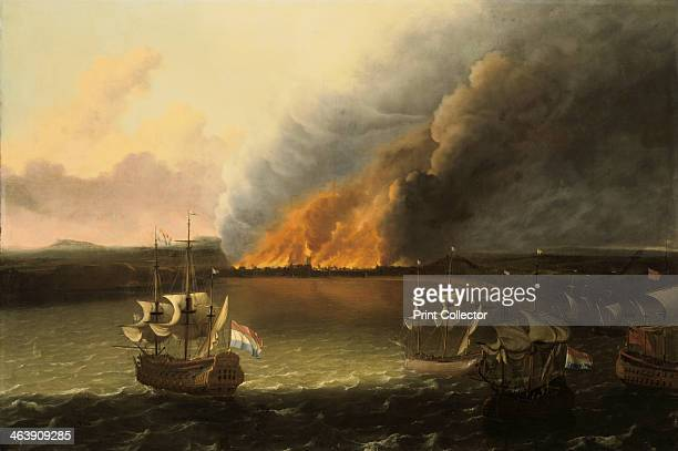 Seascape with a fire in the distance 1667