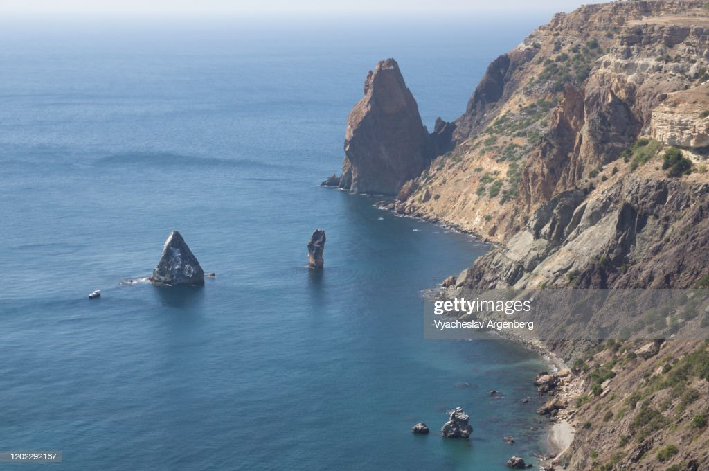Seascape with majestic Cape Fiolent in Crimea : Stock Photo