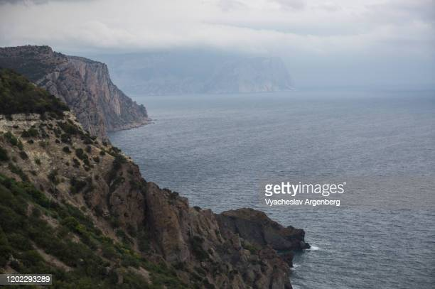 seascape with rocky coastline, black sea, crimea - argenberg stock pictures, royalty-free photos & images