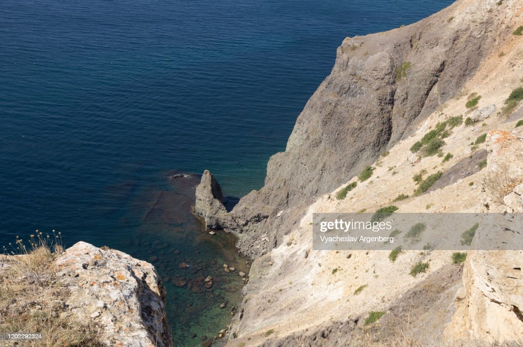 Seascape with rocky coastline west of Cape Fiolent, Black Sea, Crimea : Stock Photo