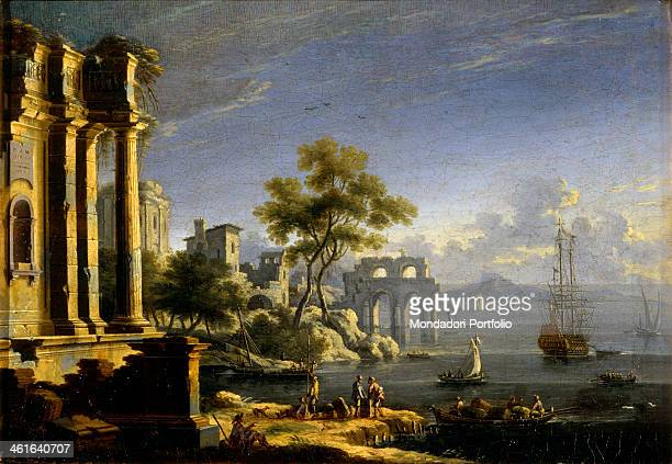 Seascape with Ruins and Dawn Treader by Unknown Venetian Artist ca 1750 18th Century oil on canvas Italy Lombardy Milan Castello Sforzesco Civic...
