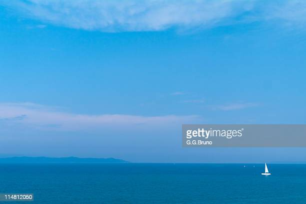 Seascape with sailboat from HYERES shore
