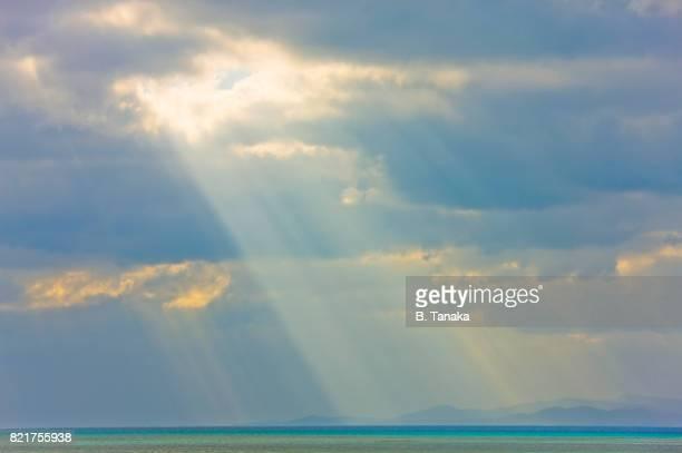Seascape with Sunbeams at Taketomi Island in Okinawa, Japan