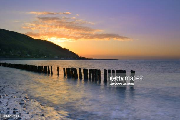 seascape with wooden poles at sunset, devon, england, uk - ポーロック ストックフォトと画像